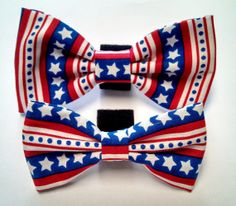 Red White and Blue Stars and Stripes Bow Tie  Collar by HalasPaws, $7.99