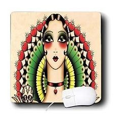 Florene All Things Mexican - Mexican Art Deco Lady With Skulls - Mouse Pads