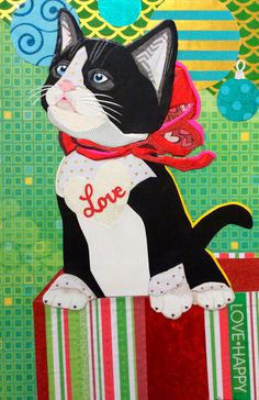 """Christmas Curiosity"" cut paper collage by Laura Yager Paper Cutting, Cut Paper, Curiosity, Pet Portraits, Animals Beautiful, Collage Art, Handmade Items, Projects To Try, Kids Rugs"