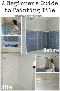 Excellent Tutorial on refinishing a shower or bathtub, Rustoleum bath tub paint kit, foam rollers, wet dry 600 grit sandpaper, bleach comet, paint brush, throwaway paint trays!