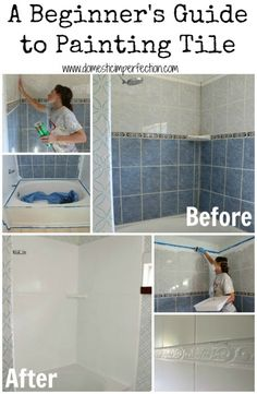Excellent Tutorial on refinishing a shower or bathtub, Rustoleum bath tub paint kit, foam rollers, wet dry 600 grit sandpaper, bleach comet, paint brush, throwaway paint trays!
