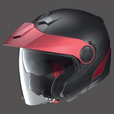 Casco moto jet doppia visiera NOLAN N40 FLAT BLACK RED