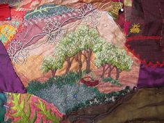 I ❤ crazy quilting . . . Work In Progress: I originally made this little tree scene cameo separately. It was not long previous to my marriage break up and being, as I considered it, a picture of Pandora's Box & open... I felt that my husband would realise that I had made my decision to leave. Stupid I know! But the story goes that once Pandora's box was open & the contents had flown out, they could not be retrieved. Long time ago now. Happy now. Nice kids. Nice life. All good.