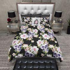Black Mini Blossoms and Skulls Duvet Bedding Sets
