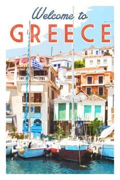 Greece print. Greece poster. Greece travel poster. Greek islands. Wall art print. Menton poster. Santorini Mykonos Poros yachts.