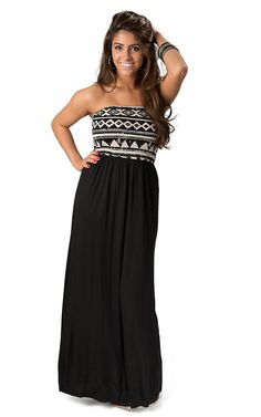 Vintage Havana Women's Black and Cream Tribal Print Open Back Strapless Maxi Dress
