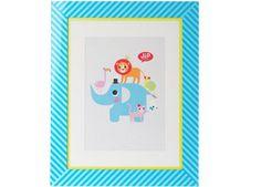 wallart met olifant in grote gestreepte lijst J.I.P | kinderen-shop Kleine Zebra