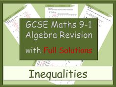 GCSE algebra revision 9-1 - Inequalities - with Full Solutions