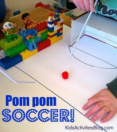 pom pom soccer idea, love this, could use for color recognition and use varied colored pom poms