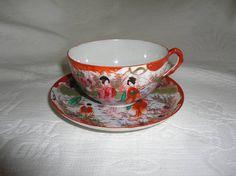 Vintage Oriental Geisha Ladies Scene Tea Cup And Saucer Set