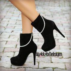 Margaritsa Süet Siyah Taşlı Platform Topuklu Bot #bootie #platform