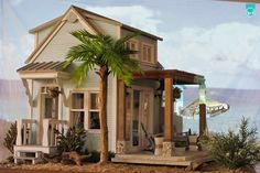 First-Time Entrant Winner - Karen Hritz Beach Retreat Vitrine Miniature, Miniature Rooms, Miniature Houses, Mini Houses, Modern Dollhouse, Diy Dollhouse, Dollhouse Miniatures, Fairy Houses, Doll Houses
