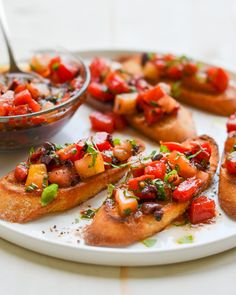 Bruschetta with Heirloom Tomatoes, Olives and Basil - Once Upon a Chef Heirloom Tomato Recipes, Heirloom Tomatoes, Cherry Tomatoes, How To Make Bruschetta, Bruschetta Recipe, Basil Recipes, Vegan Recipes, Italian Appetizers, Summer Tomato