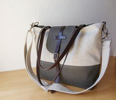2-Tone Tote in Hemp and Dark Olive with detachable by infusion