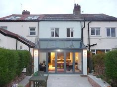 like the tinted glass as it could get glare and tint would prevent opposite neighbours lookingvin Cottage Extension, Orangery Extension, House Extension Design, Glass Extension, Rear Extension, Extension Google, Extension Ideas, Lean To Conservatory, Conservatory Kitchen