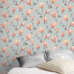 GoodHome Leuzea Blue Floral Smooth Wallpaper - B&Q for all your home and garden supplies and advice on all the latest DIY trends Tree Nature Wallpaper, Diy Wallpaper, Kawaii Wallpaper, Tumblr Wallpaper, Pattern Wallpaper, Dark Wood Bathroom, Blue Floral Wallpaper, Black Brick, Wet Rooms