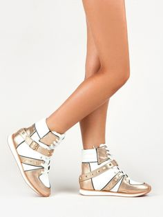 Women's #Fashion #Shoes: Qupid PIPPA-09 Metallic Two Tone White and Gold Lace Up High Top Sneakers
