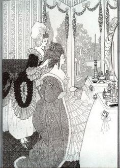 Aubrey Beardsley - The Toilet, for The Rape of the Lock   Aubrey Vincent Beardsley (Brighton, Inglaterra, 21 de agosto de 1872- Menton, Francia, 16 de marzo de 1898) fue un artista pintor e ilustrador inglés. Uno de los más notables críticos de la sociedad victoriana, satírico e implacable, su obra despertó admiración y escándalo