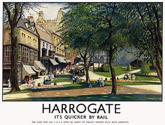 Visit Harrogate railway poster pinned by www.realyorkshiretours.co.uk #yorkshire