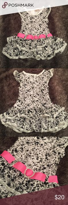 Dress. Baby dress. Lace dress. Short sleeved, ruffled, lace, party dress. Pink, ribbon belt and plastic, glitter heart detail. Lace 90% nylon 10% spandex. 100% polyester lining. Worn once! Great condition. Looks great for any party! Little Lass Dresses Formal