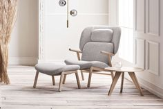 Cosh armchair with high back - Fawn - Fabric, Light Grey | Bolia.com Organic Lines, Accent Chairs, Armchair, Dining Chairs, Grey, Wood, Fabric, Inspiration, Furniture
