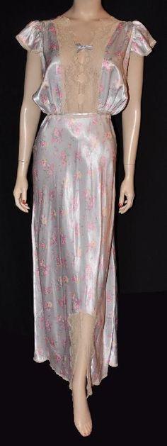 Floral 1930s Rayon Satin Bias-Cut Nightgown.
