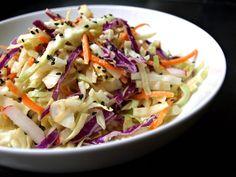 Raw Vegan Asian Slaw Salad & Miso Ginger Dressing