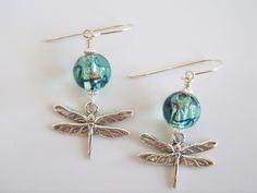 Sterling Silver Dragonfly and Light Teal Foil Lampwork Beaded Earrings - Item E2021 by Joannsfortheluvofit on Etsy