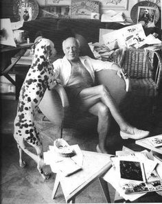 Picasso with his Dalmatian.