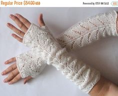 SALE Long Fingerless Gloves Wedding Mittens Natural by Initasworks