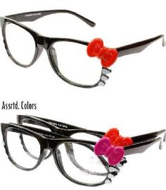 Nerds have never looked cuter! These plastic framed glasses features a Hello Kitty inspired design with a bow on the side and whiskers. Measures approx. 5.75 wide.
