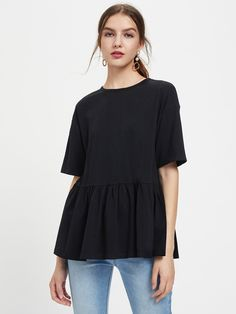 Shop Drop Shoulder Frill Hem Tee online. SheIn offers Drop Shoulder Frill Hem Tee & more to fit your fashionable needs.