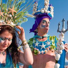 queen mermaid and king neptune - coney island mermaid parade