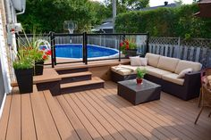 Pool deck and patio ideas images. We specialise in pool deck and patio installation. Above Ground Pool Landscaping, Above Ground Pool Decks, Backyard Pool Landscaping, Backyard Patio Designs, Backyard Pergola, In Ground Pools, Deck Patio, Rectangle Above Ground Pool, Pergola Roof
