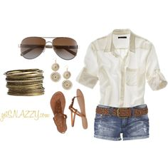 Spring & Summer Casual - button down, belted denim shorts, bangles, sunglasses, sandals, created by getsnazzy on Polyvore