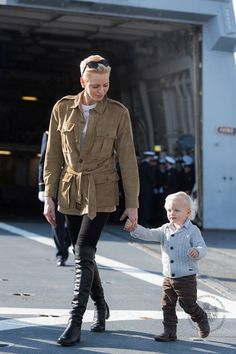 """Princess Charlene and Prince Jacques visited the French Navel Ship """"Le Guépratte"""""""