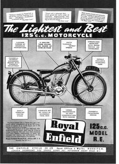 30c04be56da 1950 ROYAL ENFIELD 125 MODEL RE MOTORCYCLE,FLYING FLEA. MAGAZINE ADVERT.