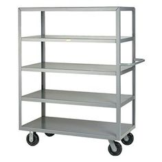 "Stock Cart, Flush, 5 Shelf, 48x24, Gray by Little Giant. $754.83. Stock Cart, Load Capacity 3600 lb., Number of Shelves 5, Shelf Width 24 In., Shelf Length 48 In., Overall Length 54 In., Overall Width 24 In., Overall Height 63 In., Distance Between Shelves 12 In., Caster Type (2) Rigid, (2) Swivel, Construction Welded Steel, Gauge 12, Powder Coat FinishCaster Material Phenolic, Caster Dia. 6 In.Color Gray 5-Shelf CartsLittle Giant 12-ga. shelves with 6"" phenolic casters.Shipped ..."