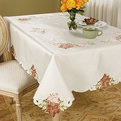 Cutwork table linens add an elegant look to any dining table