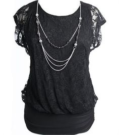 Plus Size Detailed Lace Chain Necklace Blouse- sold out :(