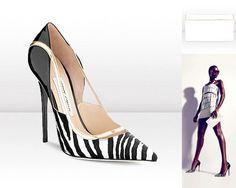 VIPER Zebra Print Pointy Toe Pumps, 625€ – CAYLA Patent Leather Evening Clutch Bag, 795€