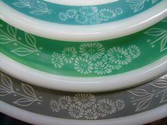 Pyrex Tableware in Bluegrass, Fern Green and Grecian :) Pretty!