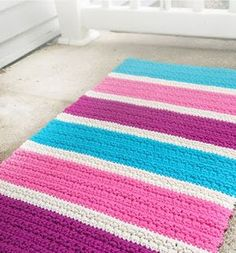 BUBBLE GUM ACCENT RUG - Crochet Crafty Ideas ( Free Pattern)
