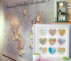 trazer esse clima bom de viajar para dentro da nossa casa. Pra isso você pode ter fazer uma decoração com mapas ou até mesmo lembranças de viagem.