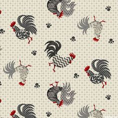 Poulets De Provence - Roosters on the Run - Oyster Gray Interior Wallpaper, Paper Wallpaper, Wild Chicken, Decoupage, Rooster Art, Chickens And Roosters, Galo, Coq, Butterfly Print