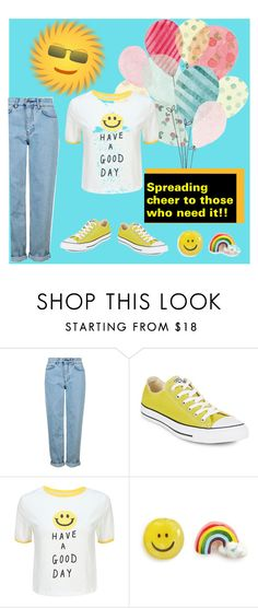 """""""Smile"""" by mary-gerstner-neyssen ❤ liked on Polyvore featuring Topshop, Converse, WithChic, Venessa Arizaga and smilesarecontageous"""