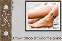 arrow tattoo around the ankle