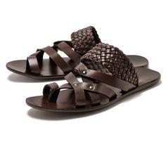 Sale 35%OFF ☆ FABIANO RICCI Fabiano Rich 16824 men's leather sandals dark brown