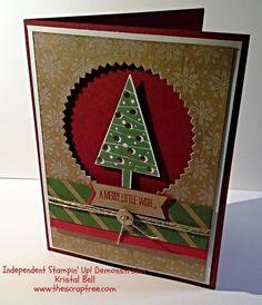 SU! Festival of Trees stamp set; Under the Tree DSP; Kraft, Whisper White and Cherry Cobbler cardstock; Garden Green and Cherry Cobbler ink; Versamark and gold embossing powder; Tree punch, Starburst Framelits - Kristal Bell