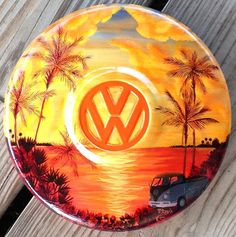Hand Painted VW Hubcap